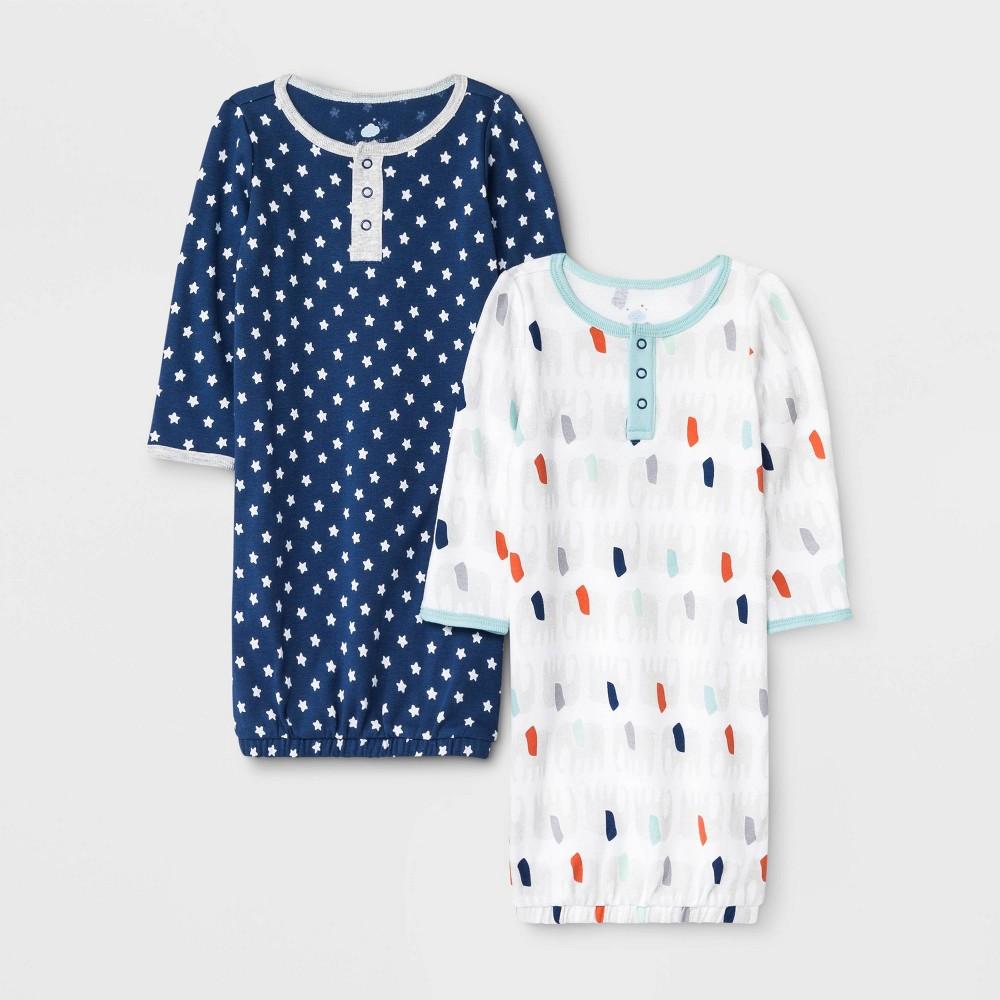 Image of Baby Boys' 2pk Little Peanut Night Gown Pajama Set - Cloud Island 0-3M, Boy's, Blue/Black