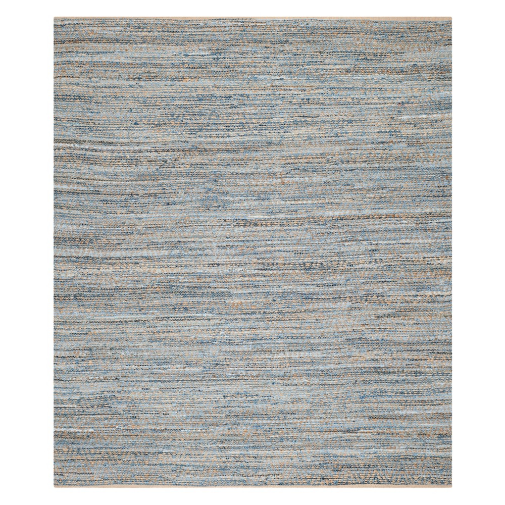 Solid Area Rug Natural/Blue