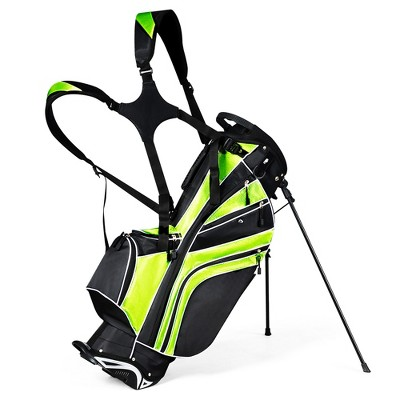 Costway Golf Stand Cart Bag Club w/6 Way Divider Carry Organizer Pockets Storage Green