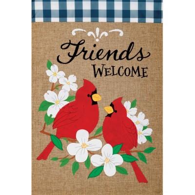 "Home & Garden 18.0"" Burlap Cardinal Friends Flag Applique Embroidered Custom Decor  -  Flags"