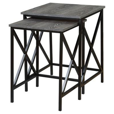 Tucson Nesting End Tables - Cherry - Black - Convenience Concepts