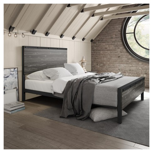 Winkler Queen Metal And Wood Bed Black And Light Target