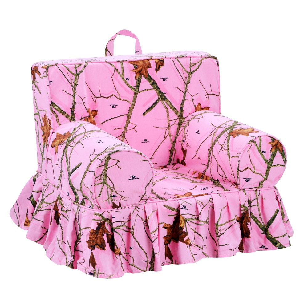 Image of Addison Skirted Grab-N-Go Kids' Foam Chair With Handle - Mossy Oak Lifestyle Pink With Matching Welt - Mossy Oak Nativ Living