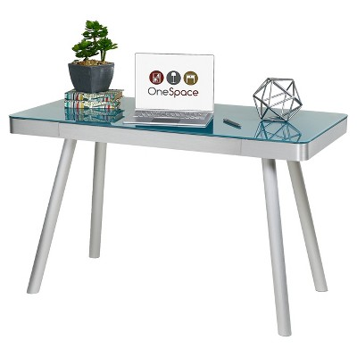 Charmant Cool Blue Glass Writing Desk With Brushed Aluminum Frame   Onespace : Target