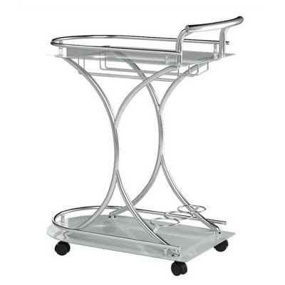 Coaster Home Furnishings 2 Glass Shelves Portable Serving Cart with Built In Stemware Rack and Bottle Storage, Chrome and White
