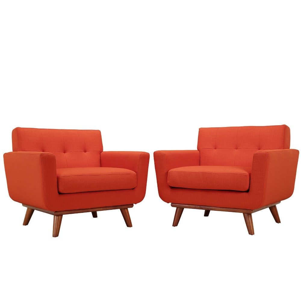 Engage Armchair Wood Set of 2 Atomic Red - Modway