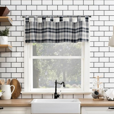 "14""x52"" Blair Farmhouse Plaid Semi-Sheer Tab Top Kitchen Curtain Valance - No. 918"
