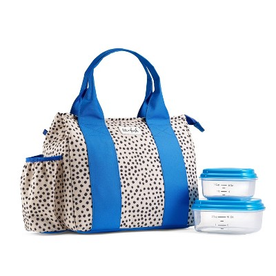 Fit & Fresh Sanibel Lunch Tote - Black Dots