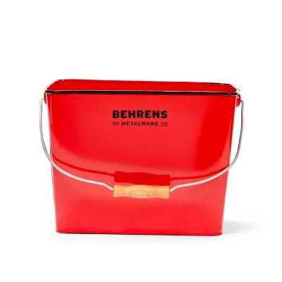 Behrens Rectangular Galvanized Steel Bucket Red