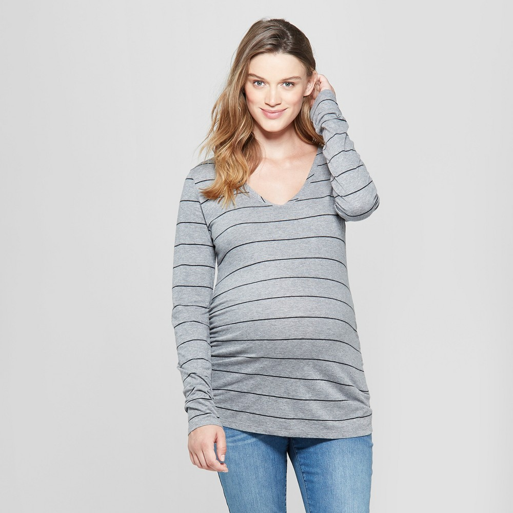 Maternity Striped Long Sleeve Shirred T-Shirt - Isabel Maternity by Ingrid & Isabel Gray L, Women's