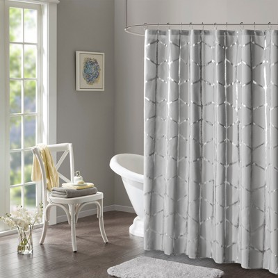Arielle Printed Metallic Shower Curtain Gray