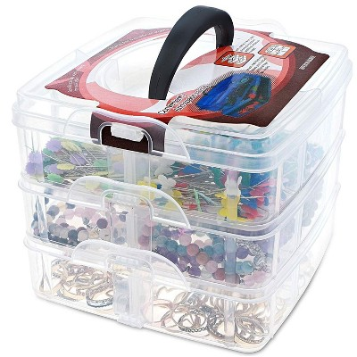 Juvale 3 Tier Stackable Storage Container Box with 18 Compartments, Plastic Organizer Box for Arts and Crafts, Toy, Fuse Beads, Washi Tapes