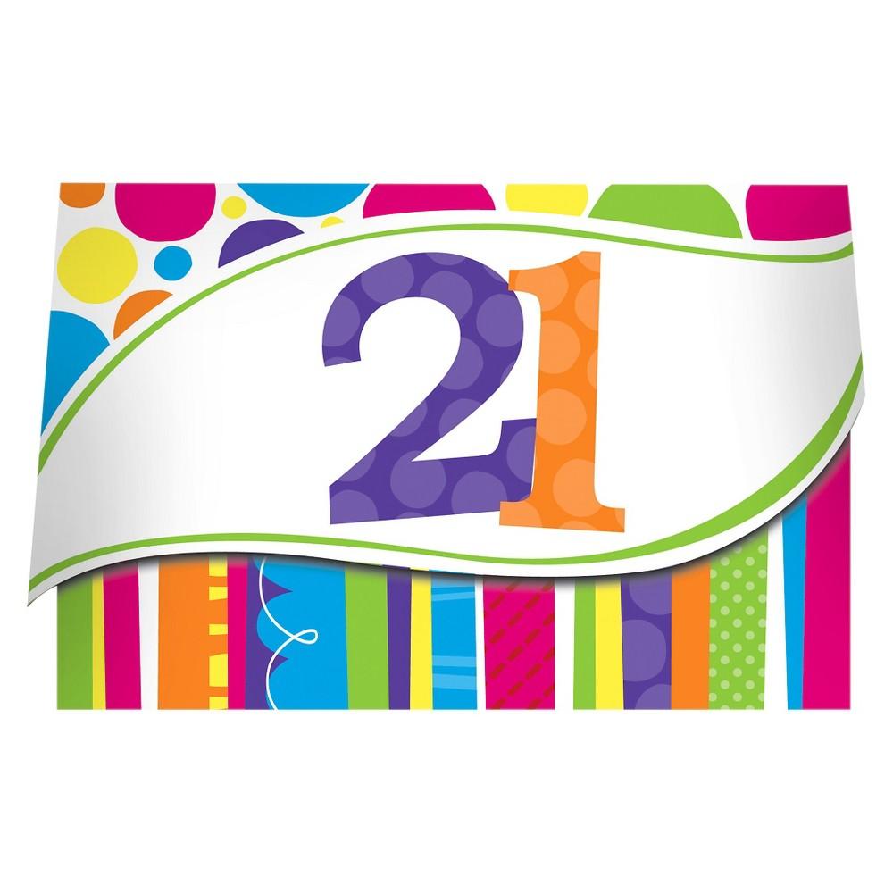 8ct Bright And Bold 21st Birthday Invitations