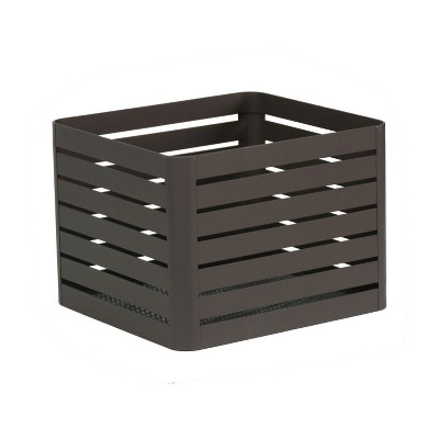 Small Slatted Metal Bin with Mesh Bottom Charcoal 8 x10  - Project 62™