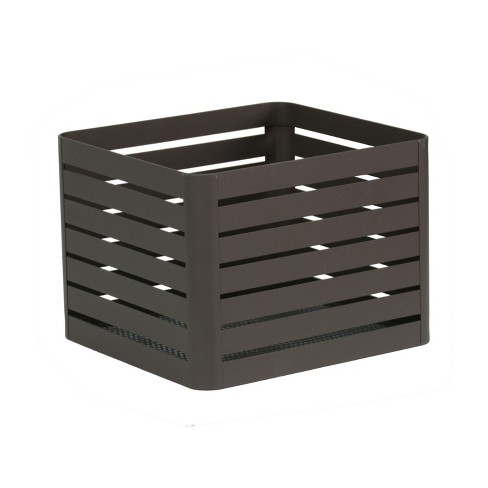 "8""x10"" Slatted Small Milkcrate with Mesh Bottom with Sanding Powder Coated Finish Charcoal - Project 62™ - image 1 of 1"