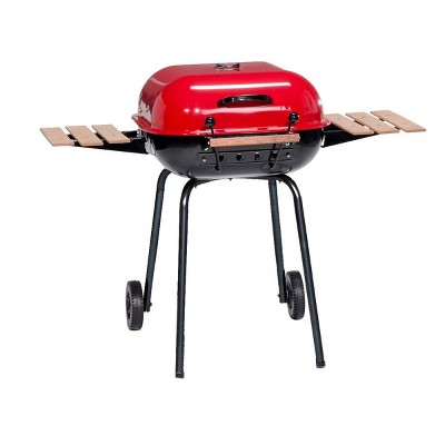 Americana Swinger 4106 Charcoal Grill with Two Side Tables - Red - Meco