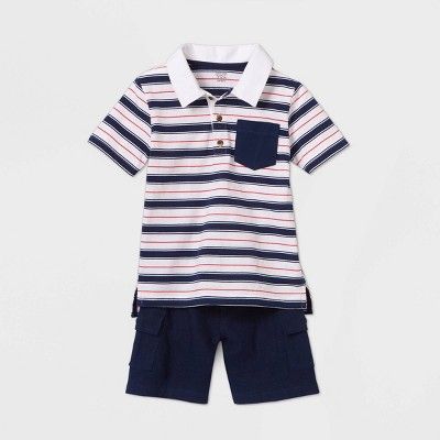 Toddler Boys' 2pc Striped Top & Bottom Set - Just One You® made by carter's Blue 2T
