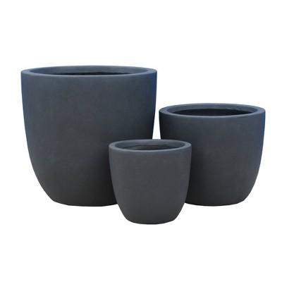 """Set of 3 17"""" Kante Lightweight Modern Seamless Outdoor Concrete Planter - Rosemead Home & Garden, Inc."""