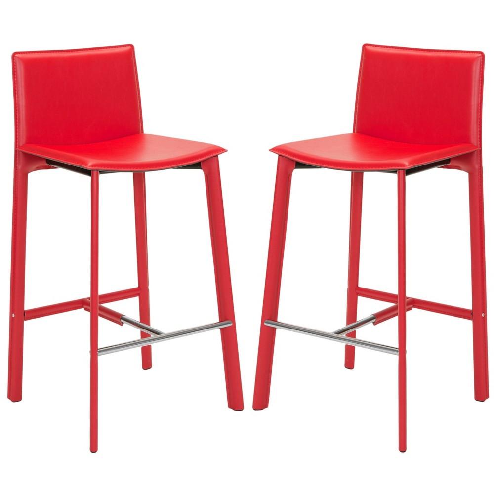 28.5 Dorene Bar Stool - Red (Set of 2) - Safavieh