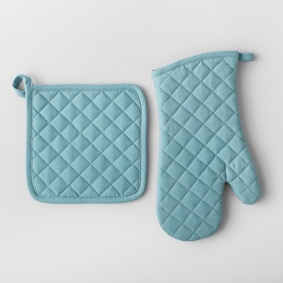 Aqua Solid Pot Holder & Oven Mitt Set - Made By Design™