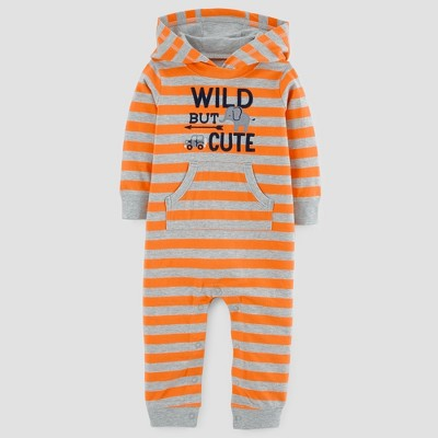 Baby Boys' Striped Wild but Cute Cotton Hooded Jumpsuit - Just One You™ Made by Carter's® Orange/Gray Newborn