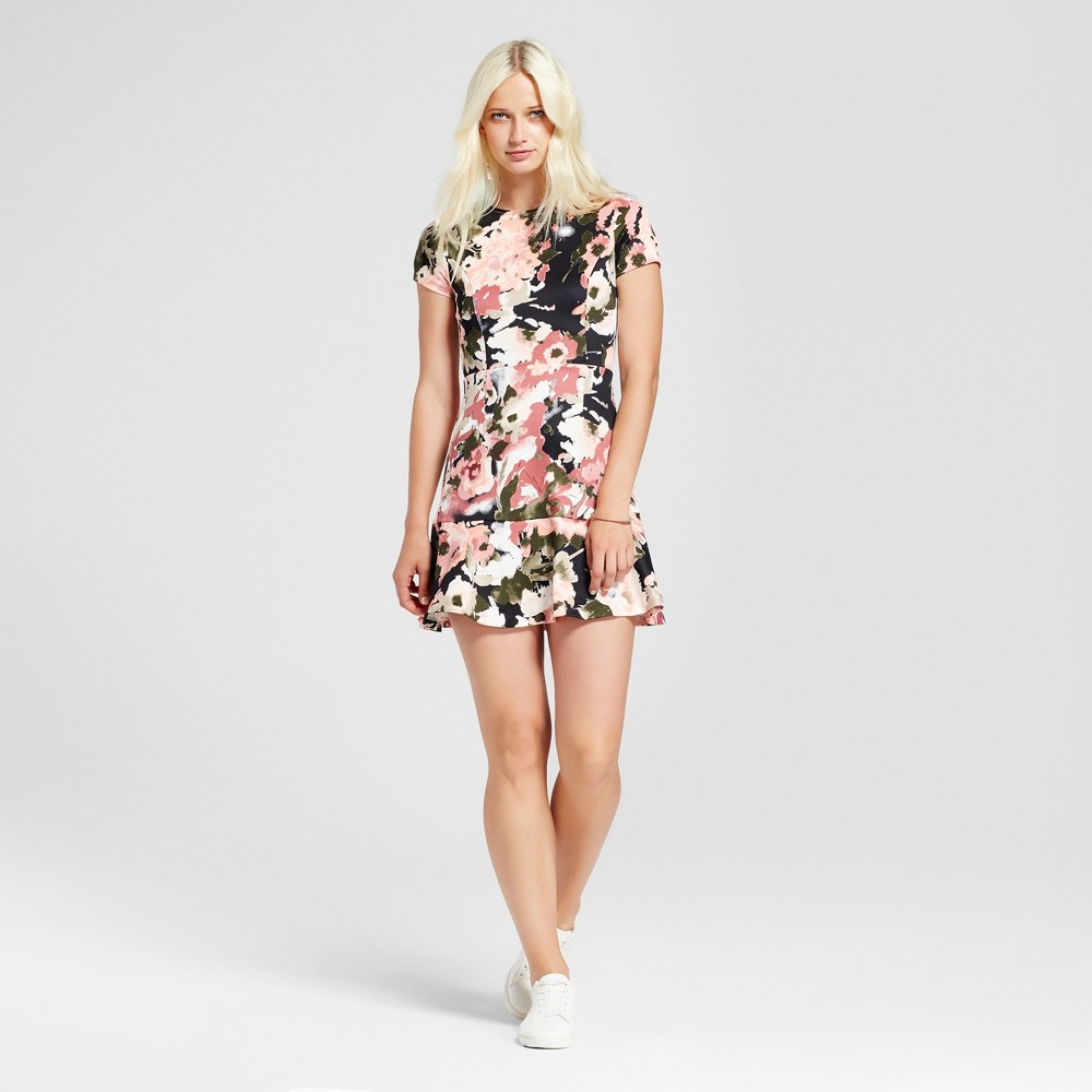 Women's Floral A-Line Dress - Necessary Objects Black/Pink/Olive (Black/Pink/Green) S
