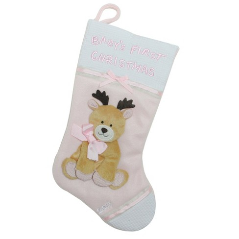 """Northlight 16"""" Pink and White Reindeer """"Baby's First Christmas 2017"""" Christmas Stocking - image 1 of 1"""
