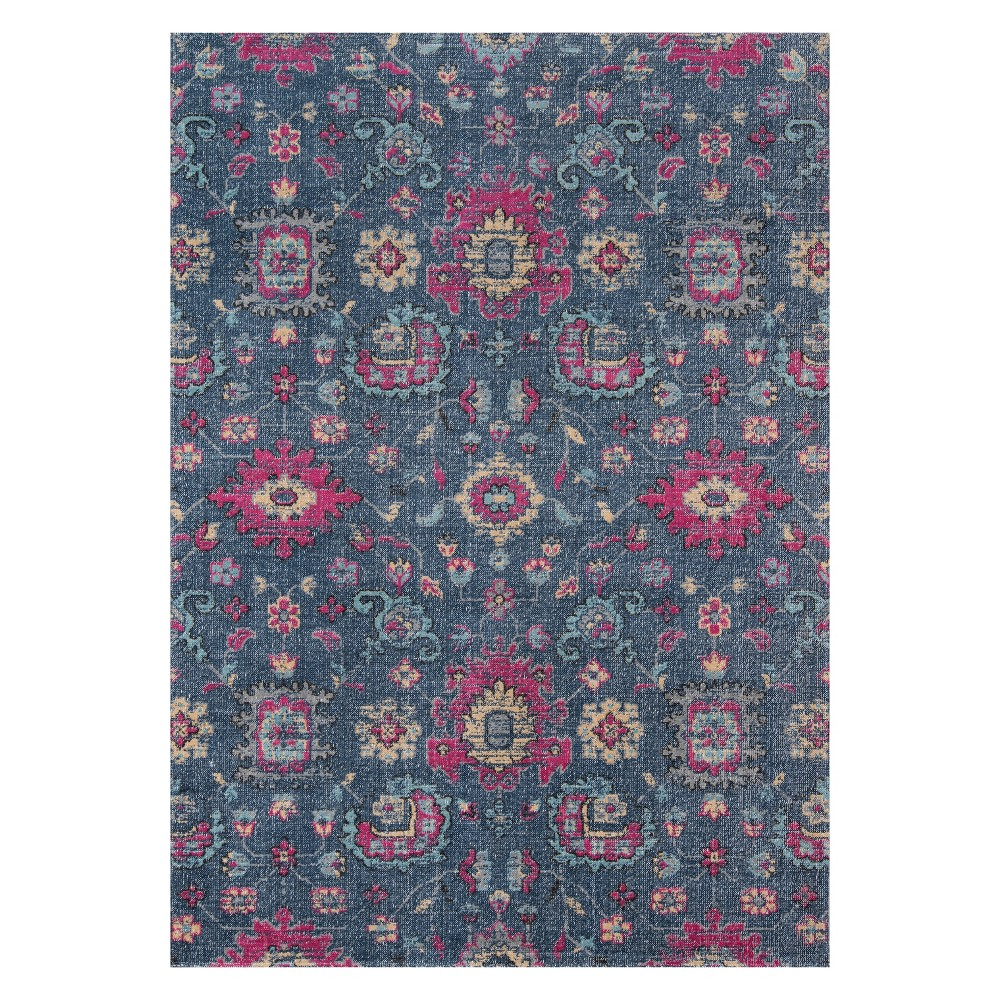 9'X12' Floral Loomed Area Rug Denim (Blue) - Momeni