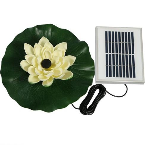 48 GPH Floating Lotus Flower Solar Pond Water Fountain Kit - White -  Sunnydaze Decor