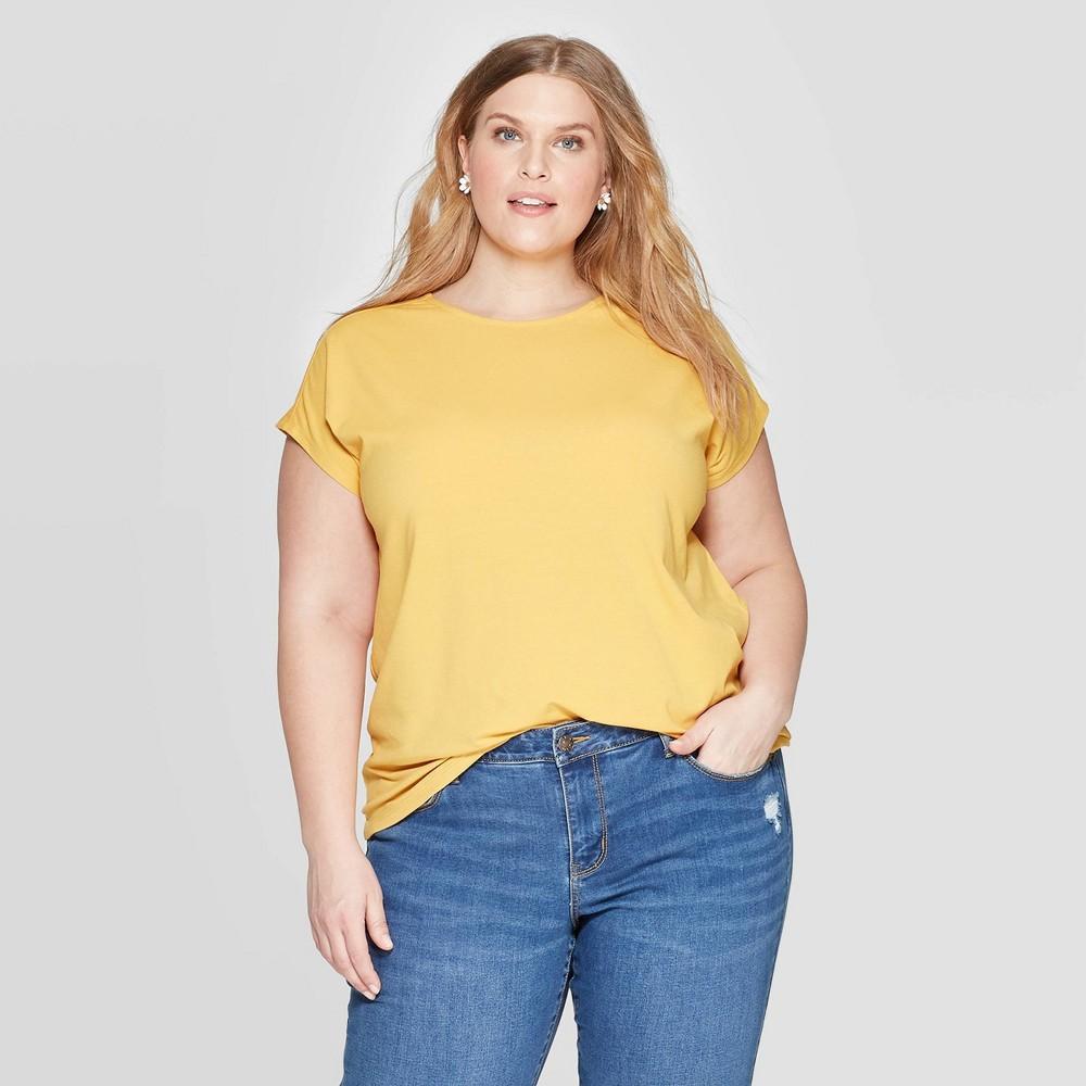 Women's Plus Size Short Sleeve Crewneck Tie Back T-Shirt - Ava & Viv Mustard 4X, Yellow