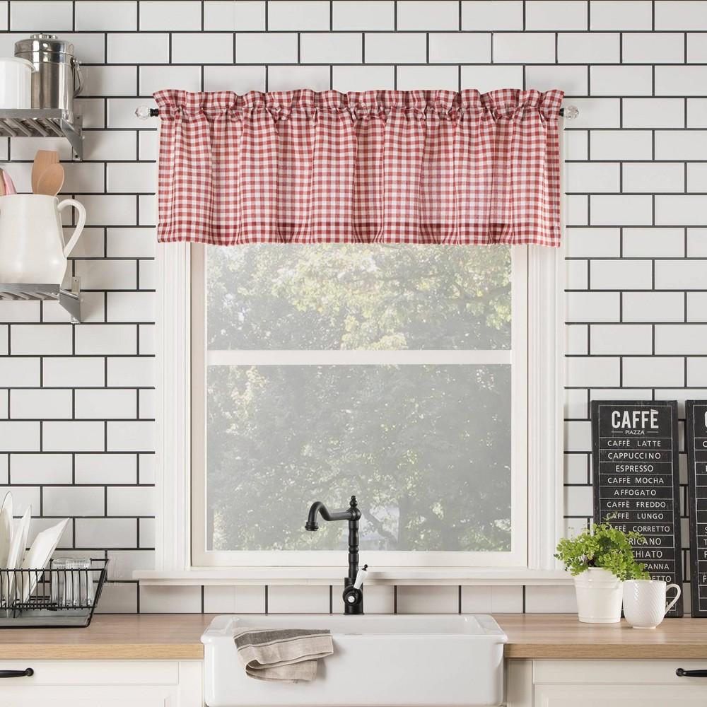 14 34 X54 34 Parkham Farmhouse Plaid Rod Pocket Semi Sheer Kitchen Curtain Valance Red White No 918