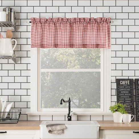 Miraculous 54X14 Parkham Farmhouse Plaid Rod Pocket Semi Sheer Kitchen Curtain Valance No 918 Home Interior And Landscaping Thycampuscom
