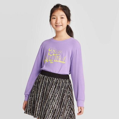 Girls' Long Sleeve Waffle Knit Glow in the Dark Top - art class™  Purple L - image 1 of 4