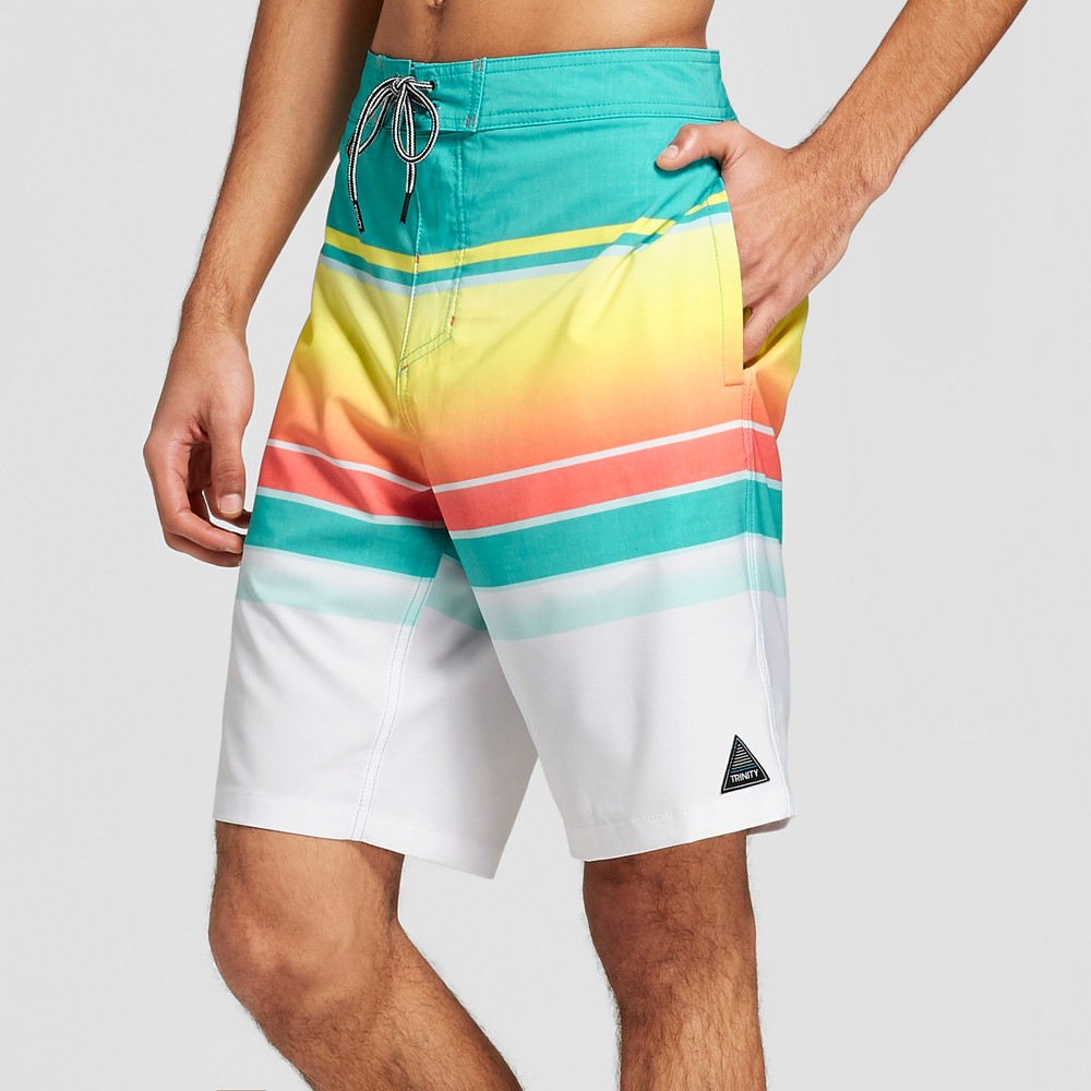 Trinity Collective Men's Striped 10 Blaster Board Shorts - Teal Lights 36, Blue