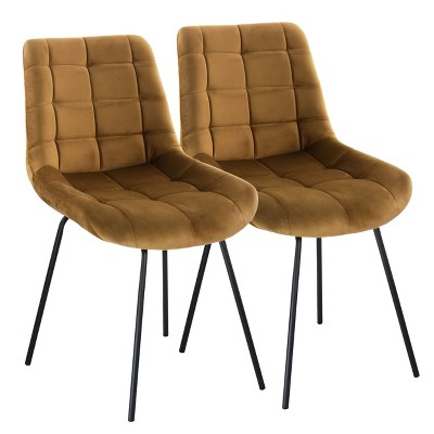 Elama 2 Piece Tufted Chair with Metal Legs
