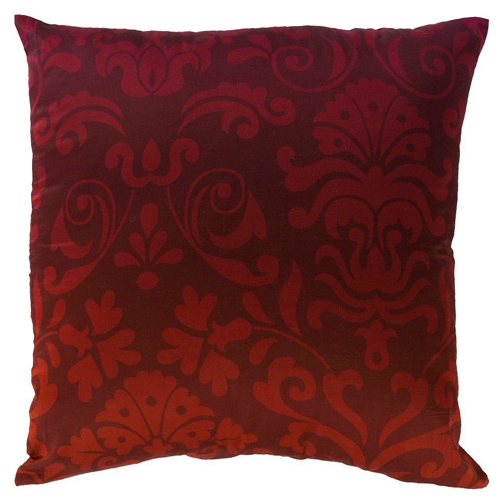 Burgundy (Red) Damask Luxe Throw Pillow 22