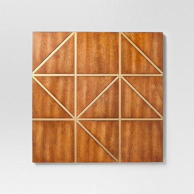 Wood and Gold Geometric Decorative Wall Sculpture 22.44 X 22.83 - Project 62™