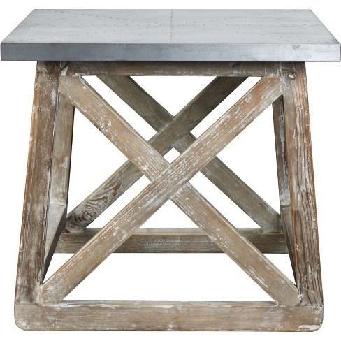 Wood Accent Table in Natural and Zinc Top Silver-Burnham Home Designs - image 1 of 3