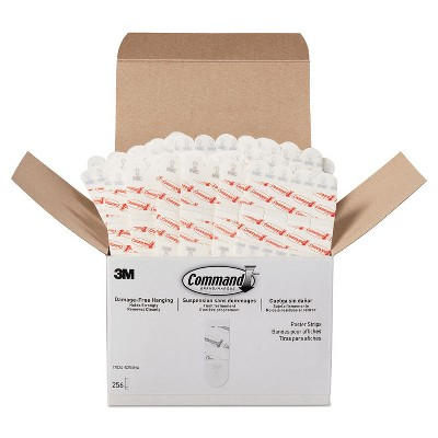 """Command Poster Strips  Removable  Holds Up to 1 lb  5/8"""" x 1 3/4""""  White  256/Pack 17024S256NA"""