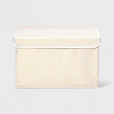 Metallic Dot Toy Box Storage Bin Gold - Pillowfort™