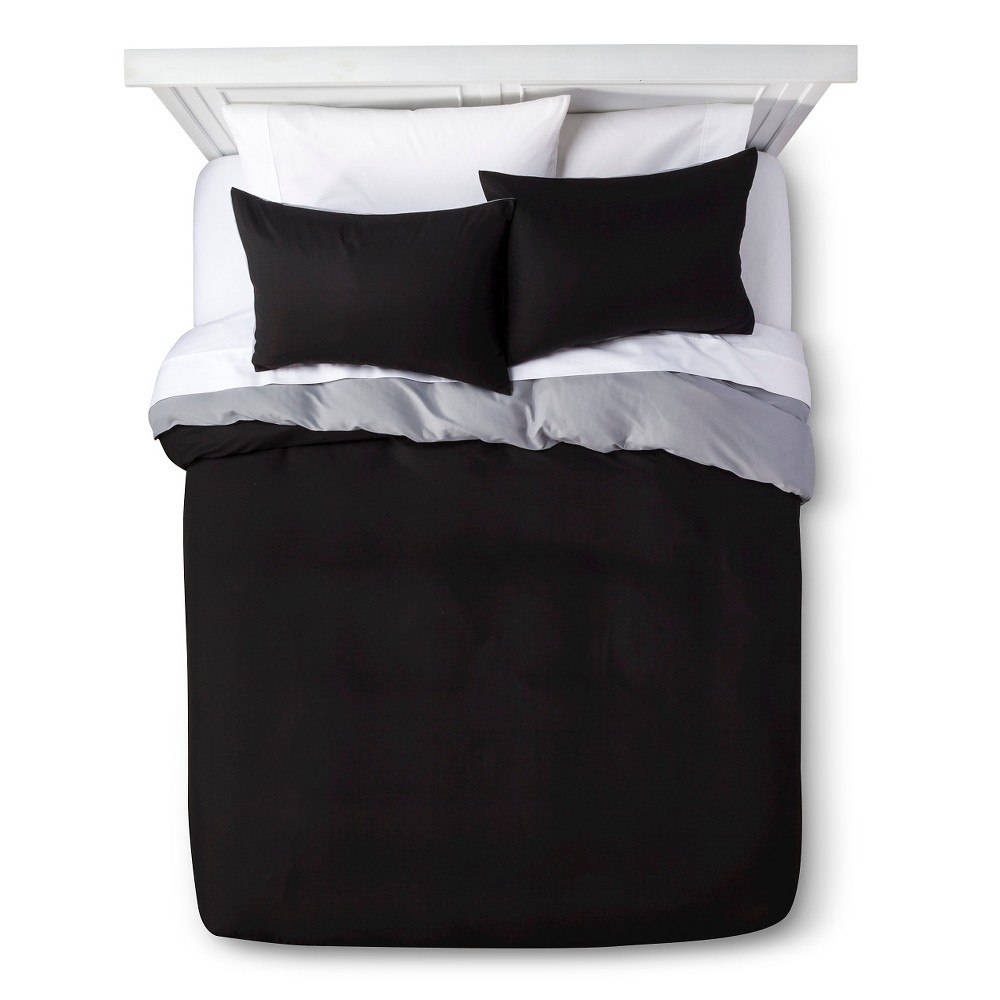 Solid Reversible Microfiber Duvet Cover Set - Room Essentials, Black