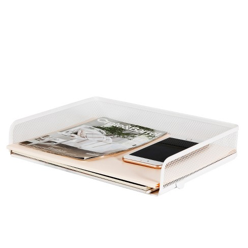 Mesh Stacking Letter Tray with Wide Side Opening White - Made By Design™ - image 1 of 4