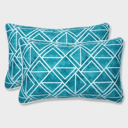 2pk Lanova Peacock Rectangular Throw Pillows Blue - Pillow Perfect - image 1 of 4