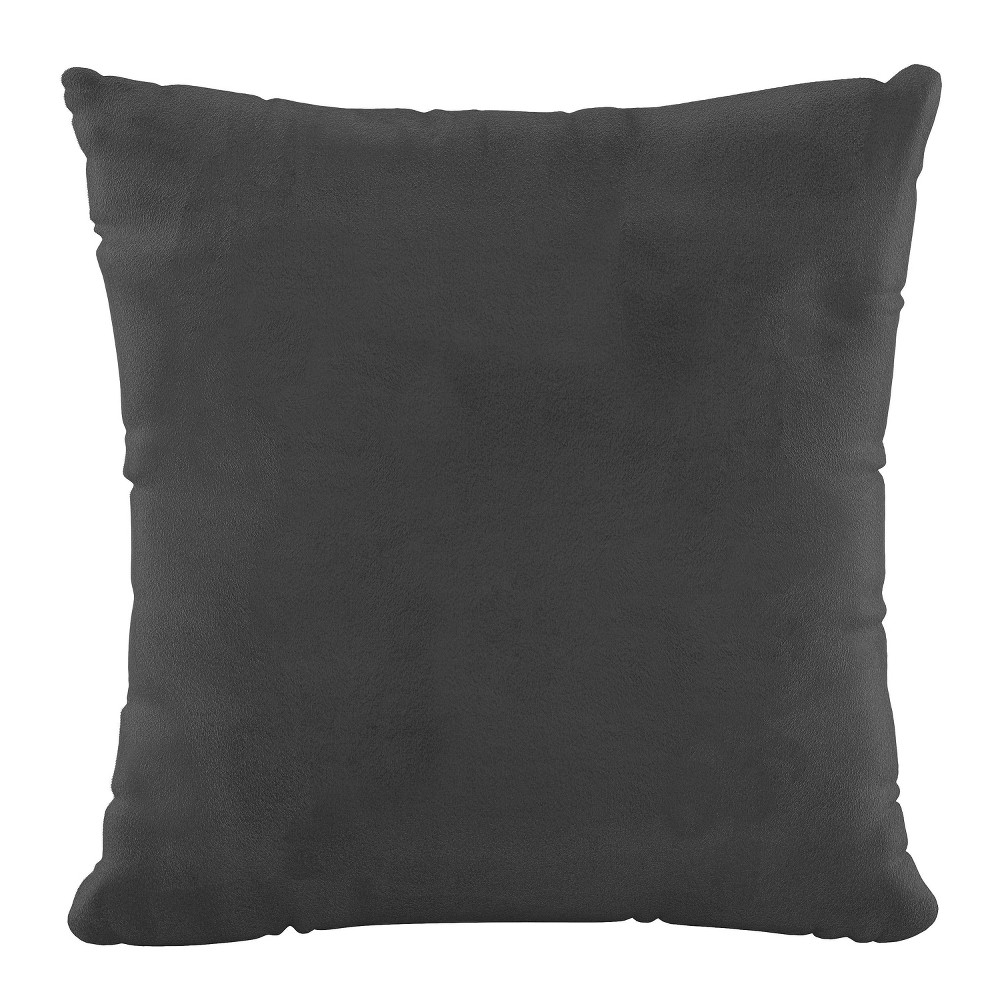 """Image of """"18""""""""x18"""""""" Polyester Fill Pillow with Welt in Velvet Charcoal - Cloth & Company"""""""