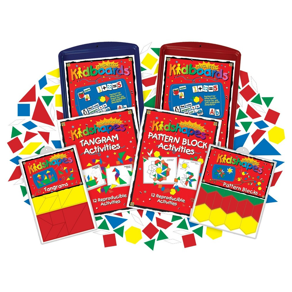 Image of Barker Creek KidBoards Magnets - Pattern Block & Tangram Activity Set