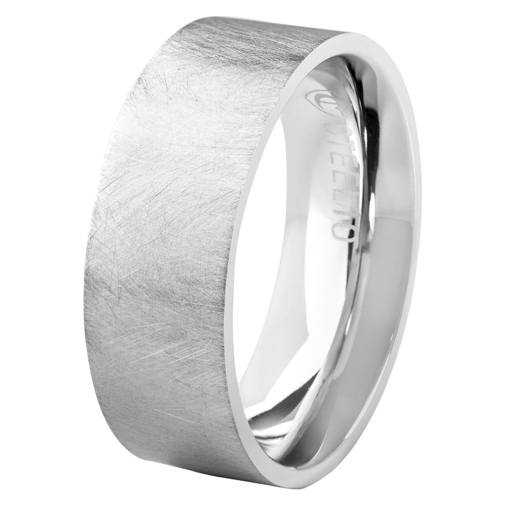 Men's Crucible Stainless Steel Brushed Finished Flat Ring (8mm) - Silver ( 11)