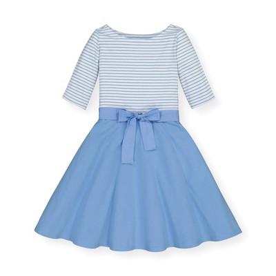 Hope & Henry Girls' 3/4 Sleeve Lightweight Knit Skater Dress Blue, Infant