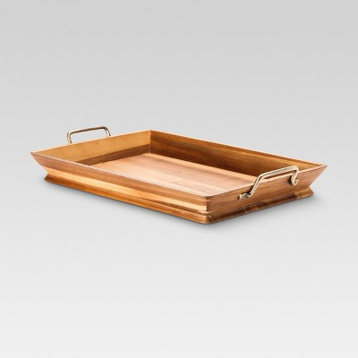 Acacia Tray with Metal Handles - Threshold™