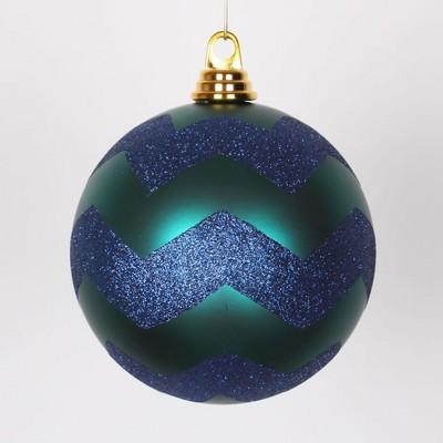 "Vickerman 6"" Matte and Glitter Chevron Shatterproof Christmas Ball Ornament - Green/Blue"