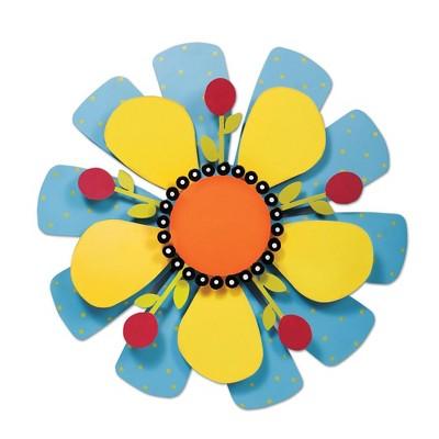 "Home & Garden 18.0"" Yellow Flower On Blue Outdoor Kinetic Art Magnet Works Ltd.  -  Wind Spinners"